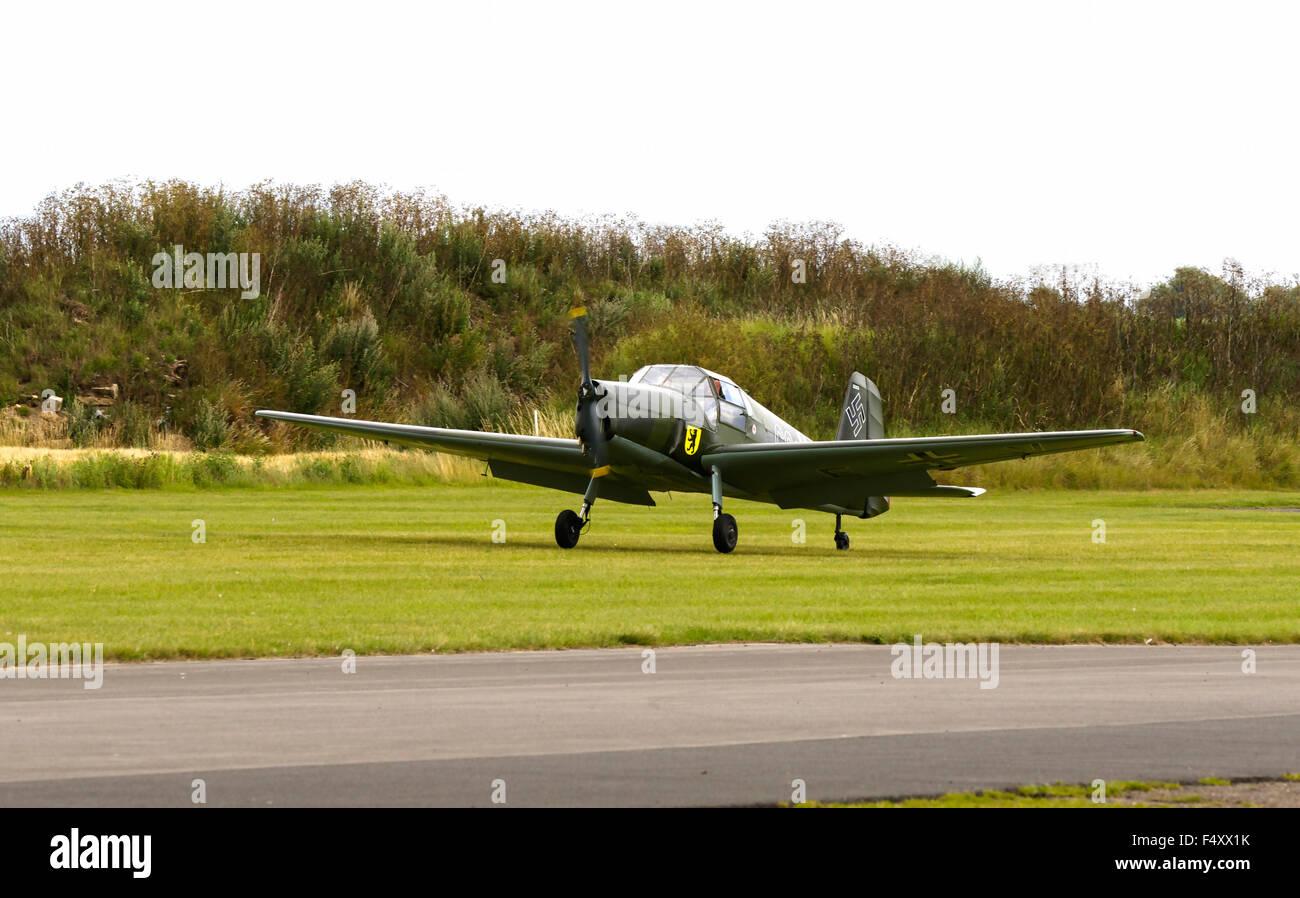 Gomhouria181 MK6 (Bucker Bestman) CG-EV G-CGEV taking-off at Breighton Airfield - Stock Image