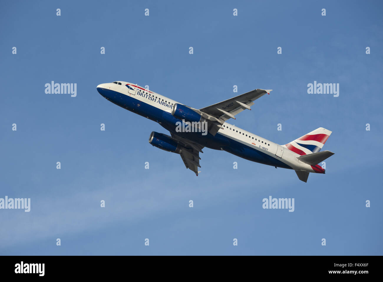 British Airways Airbus A320-232, climbing - Stock Image