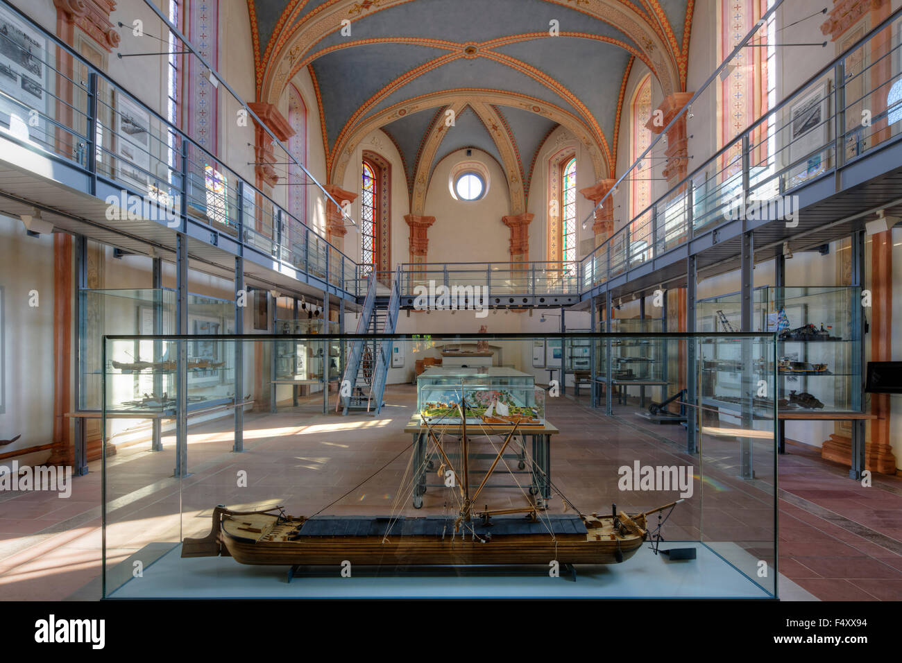 Shipping and shipbuilding museum in the nave of the former Wolfgang Church, Wörth am Main, Mainviereck, Lower - Stock Image