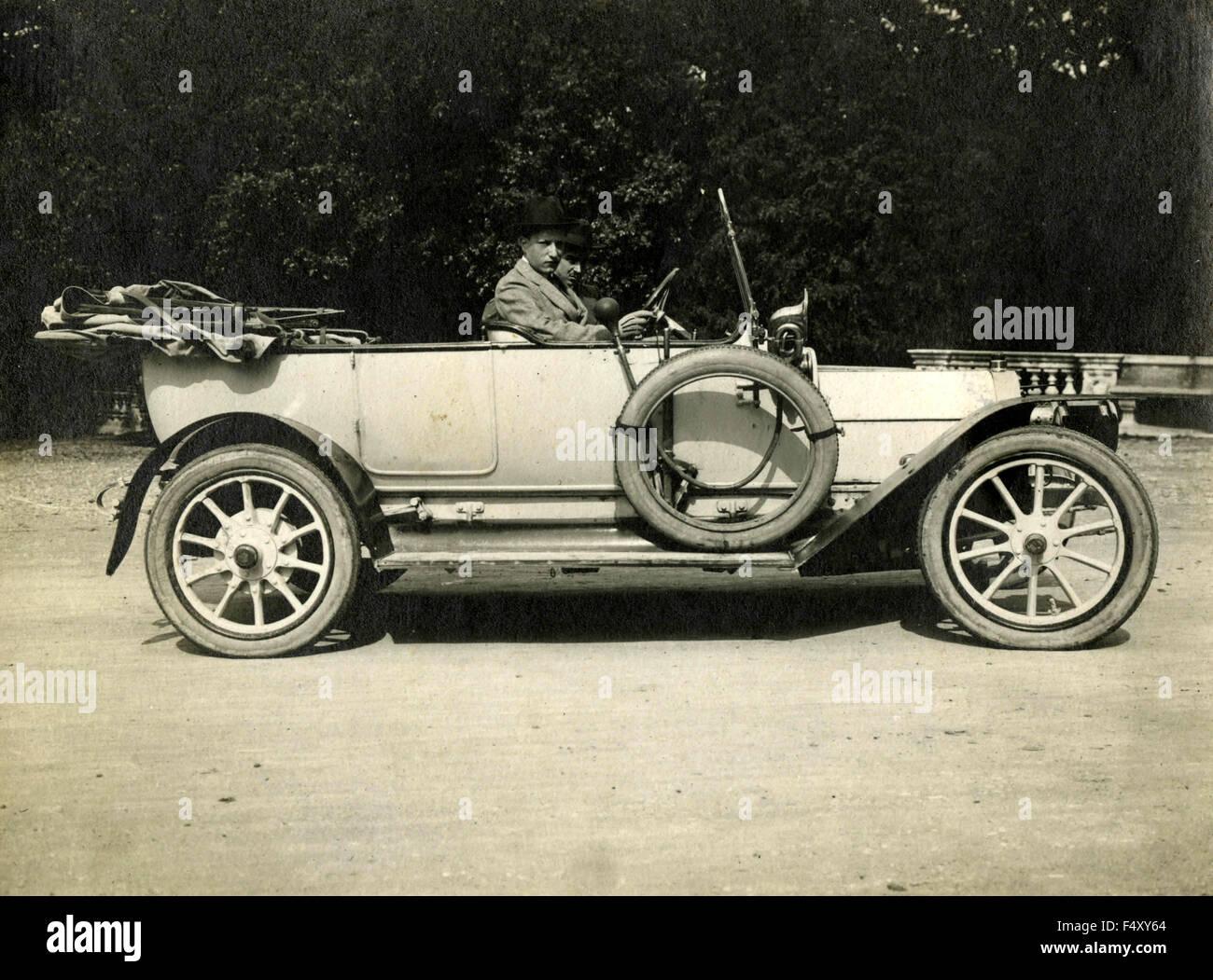 White car cabrio 10s, Italy - Stock Image