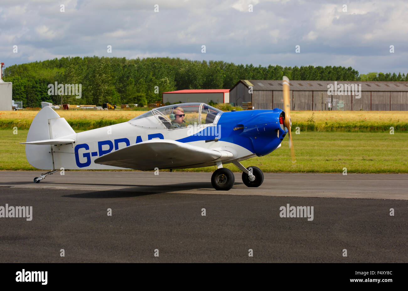 Taylor Monoplane G-BDAD taxiing at Breighton Airfield - Stock Image