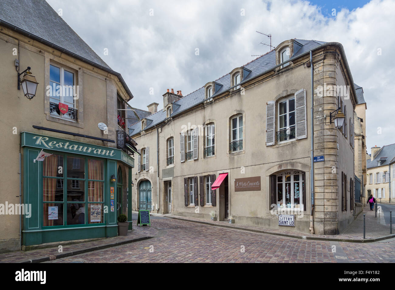 Historic Bayeux Street Scene Of Shops Restaurants And Apartments Stock Photo Alamy