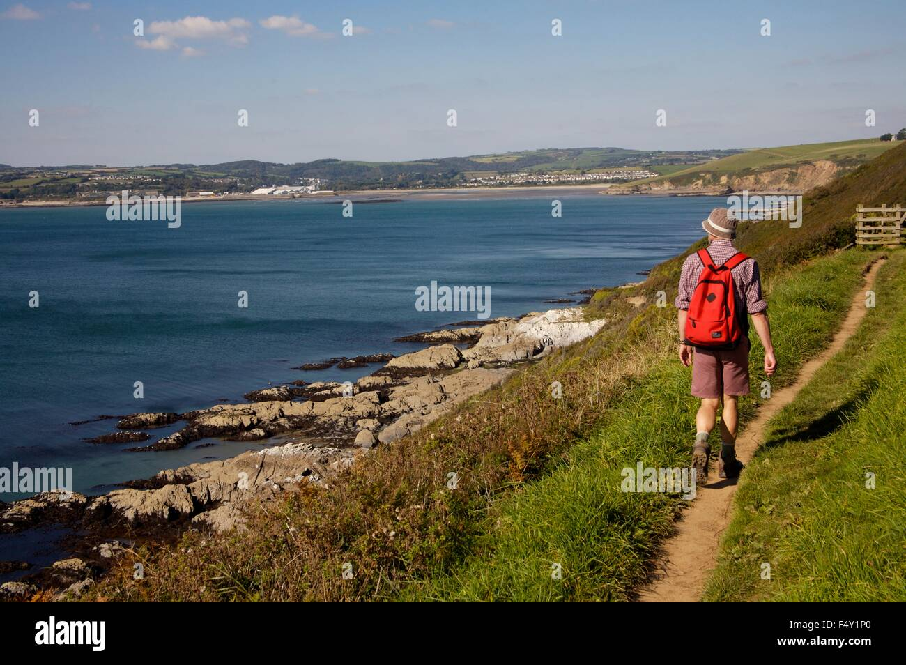 St Austell Bay, Cornwall, approaching Par Sands. - Stock Image