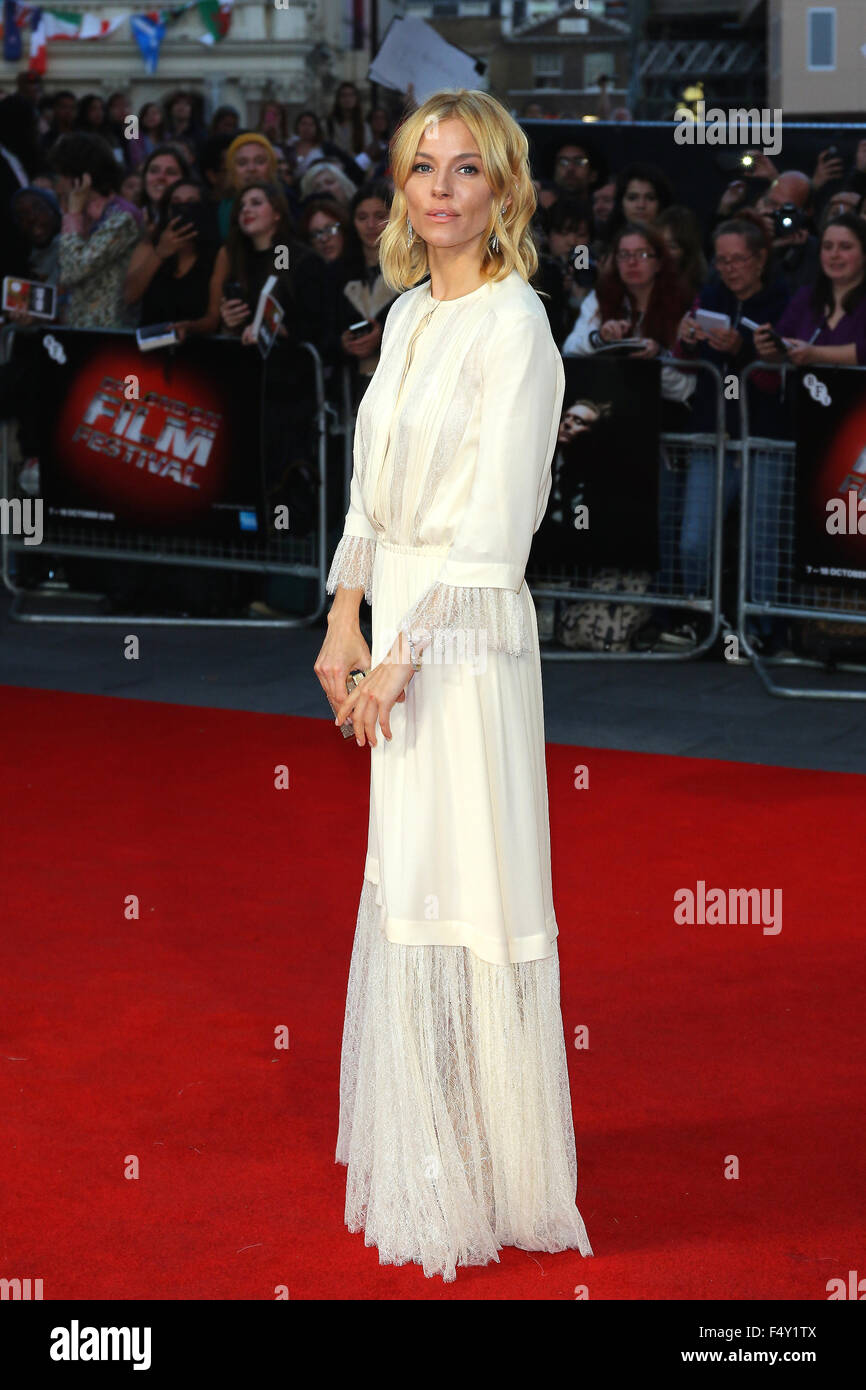 London, UK, 9th Oct 2015: Sienna Miller attends the High-Rise premiere, 59th BFI London Film Festival, in London - Stock Image