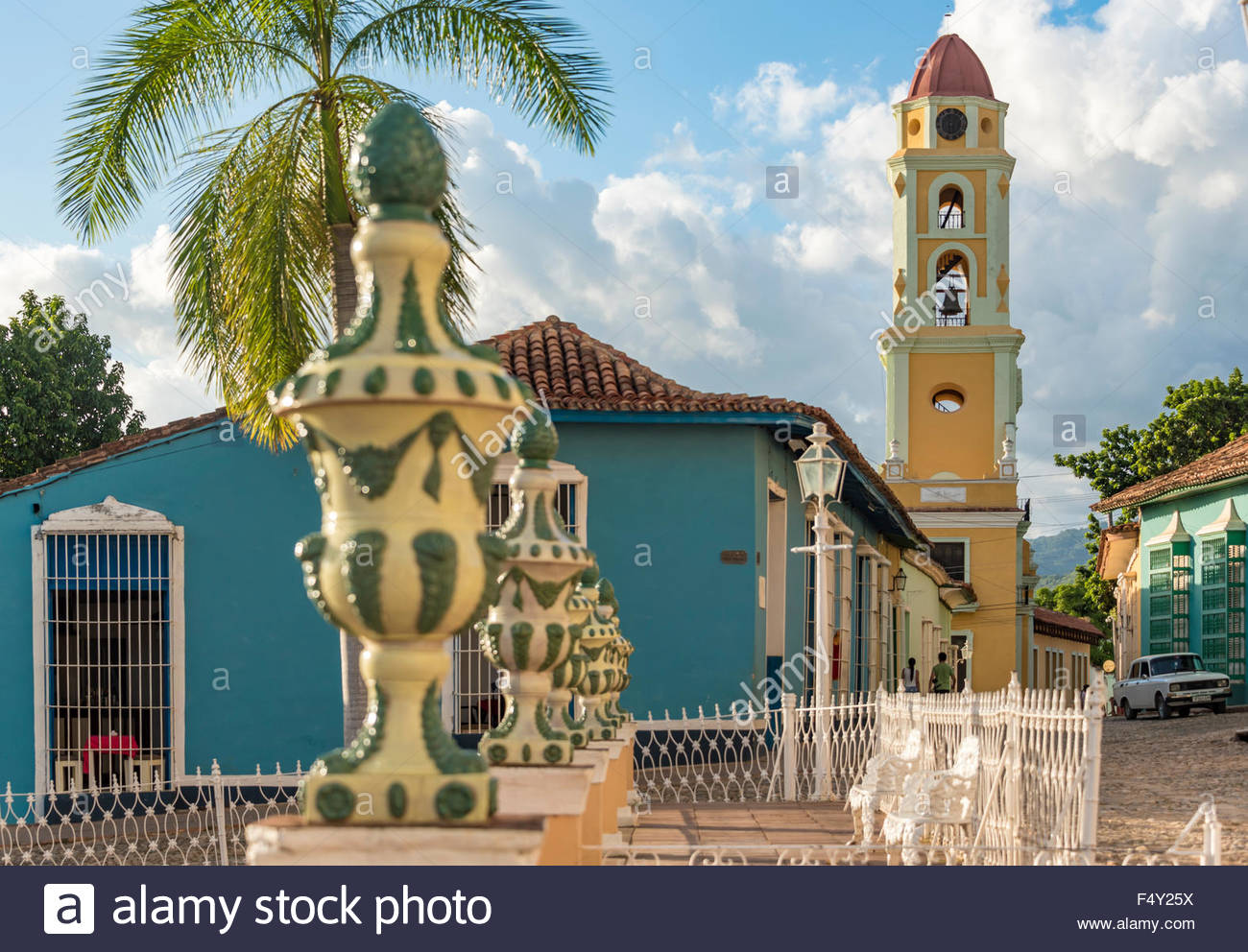 Trinidad de Cuba: Plaza Mayor with Saint Francis Church or Convent which currently is a museum for the Fight Against - Stock Image