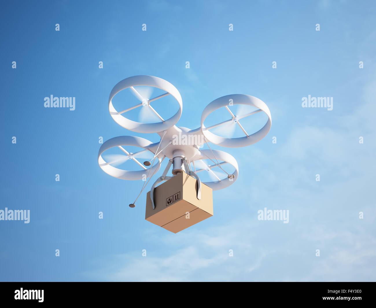 Drone delivering a package - autonomous logistics - Stock Image