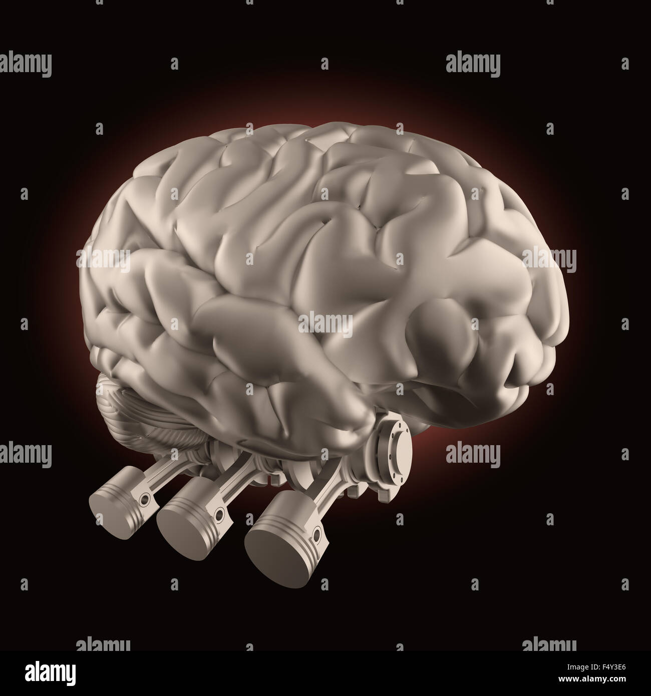 Brain with combustion engine valves - brain stimulation and power concept - Stock Image
