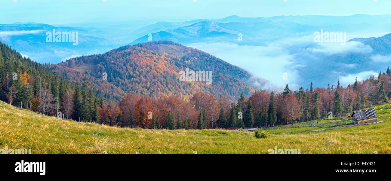 Morning fall mountain plateau panorama and stock-raising shed (Carpathian, Ukraine). - Stock Image