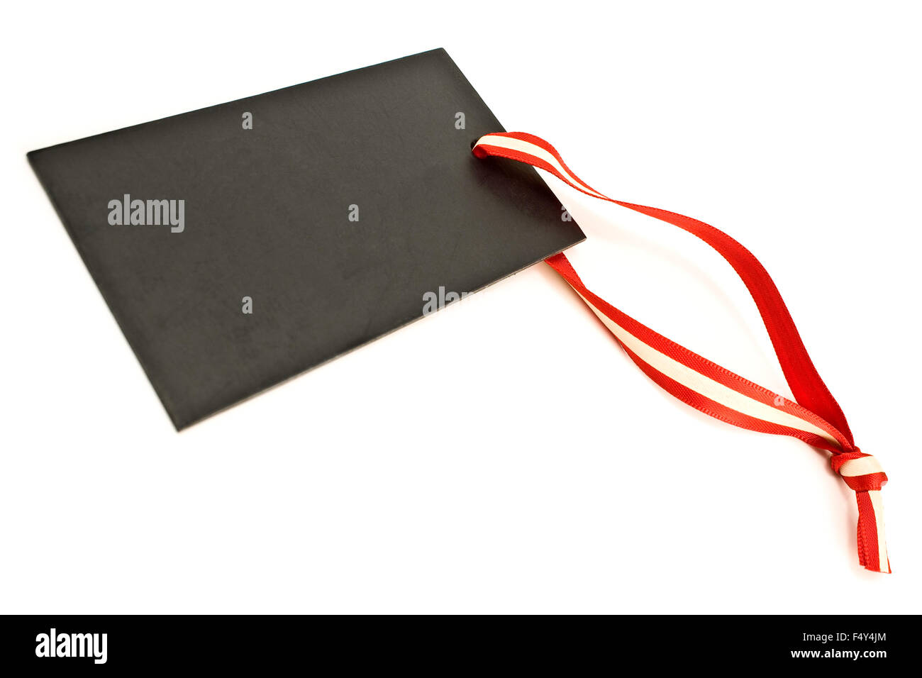 Blank black price tag isolated on white Stock Photo