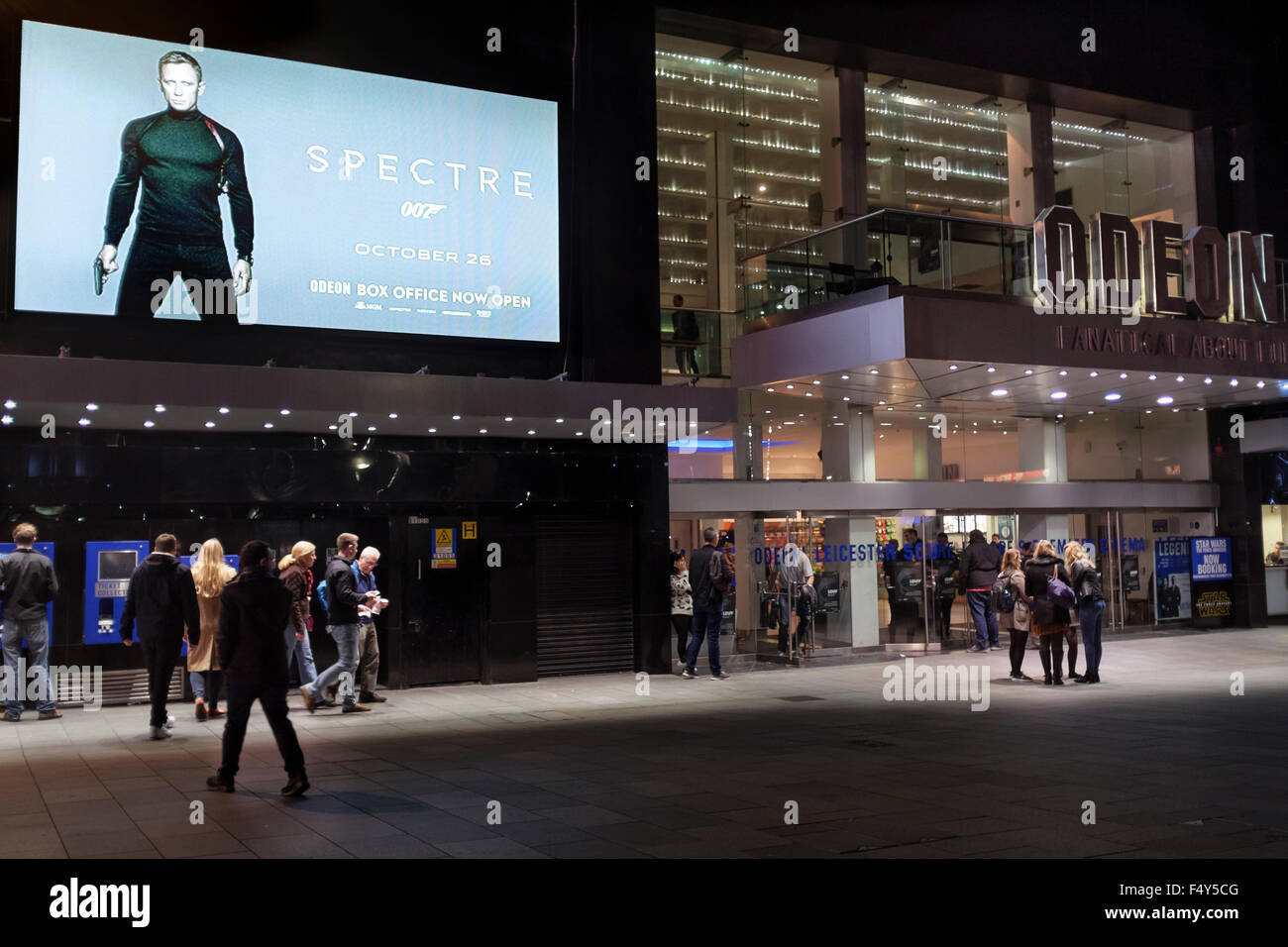Odeon cinema , Leicester Square, London advertising the release of  James Bond film Spectre starring Daniel Craig - Stock Image