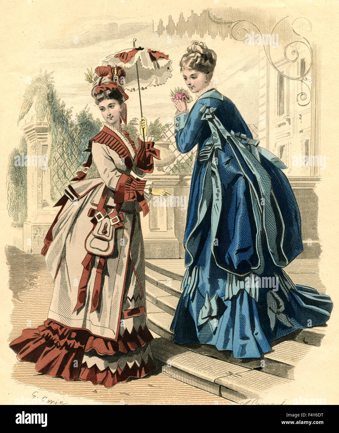 fashion illustration french woman at the end of 1800 stock photo