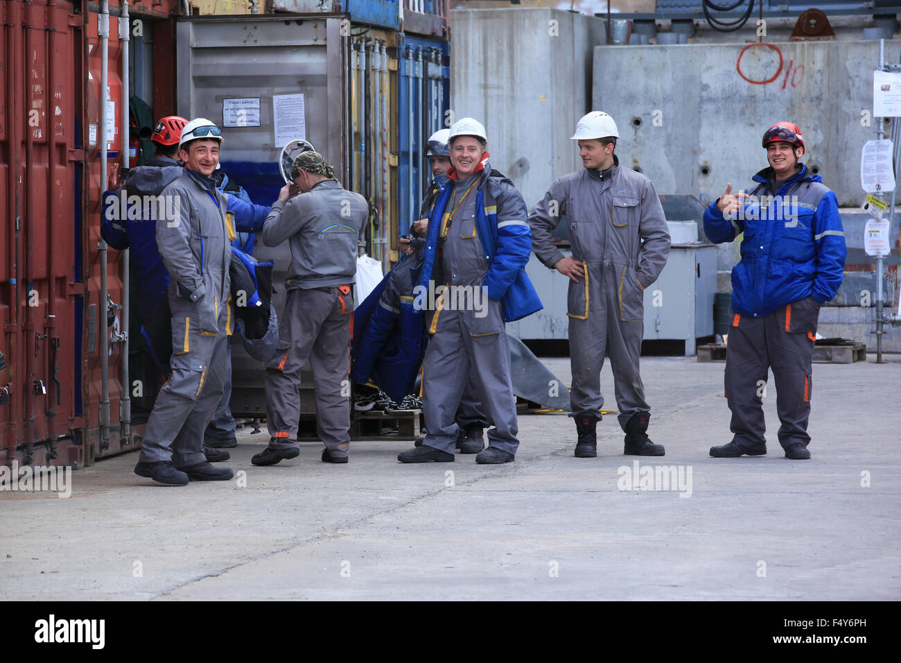 Construction workers employed by Novarka at the construction site of the New Safe Confinement. Chernobyl nuclear - Stock Image