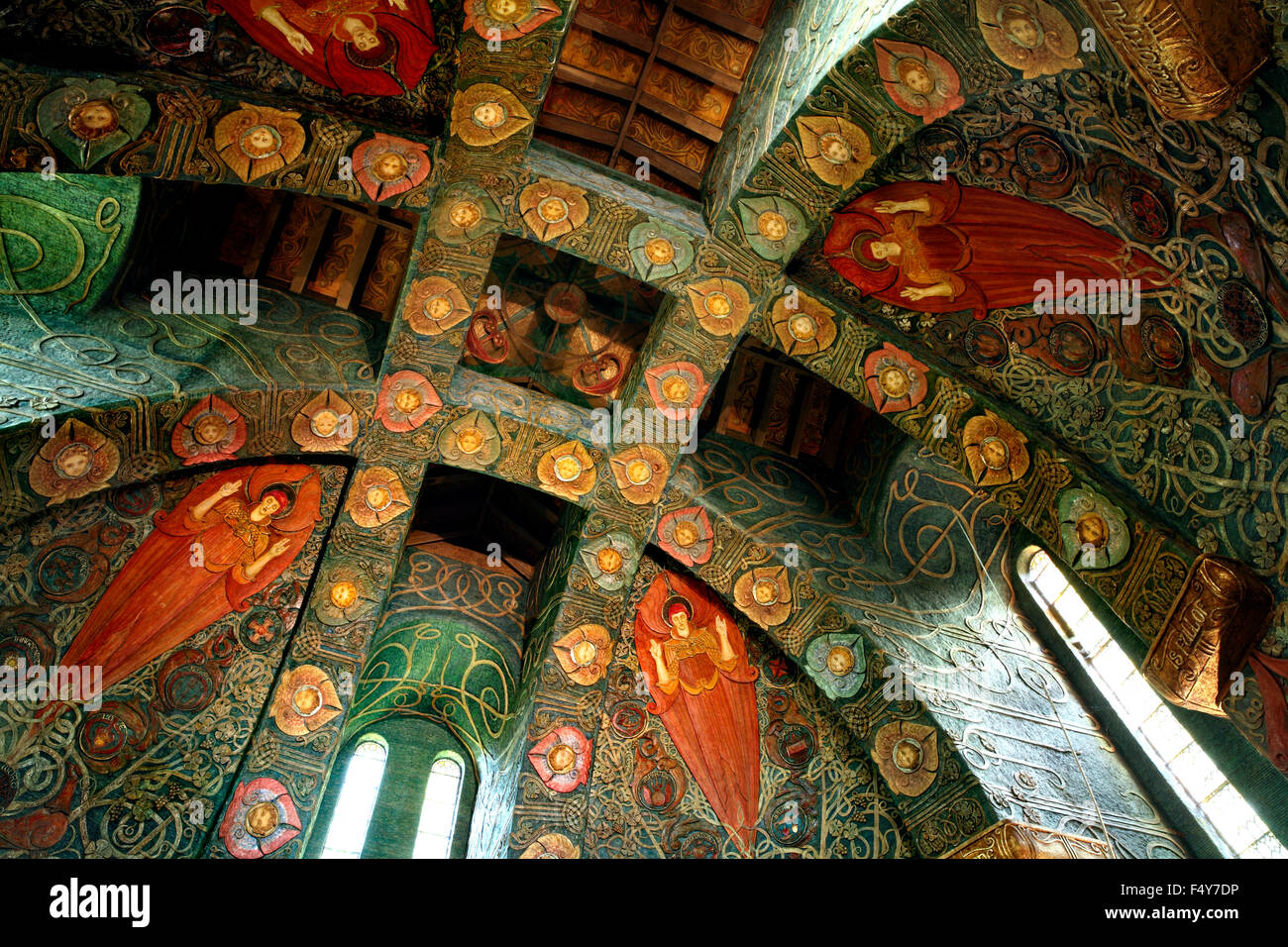 The elaborately decorated ceiling of the Watts Chapel. - Stock Image