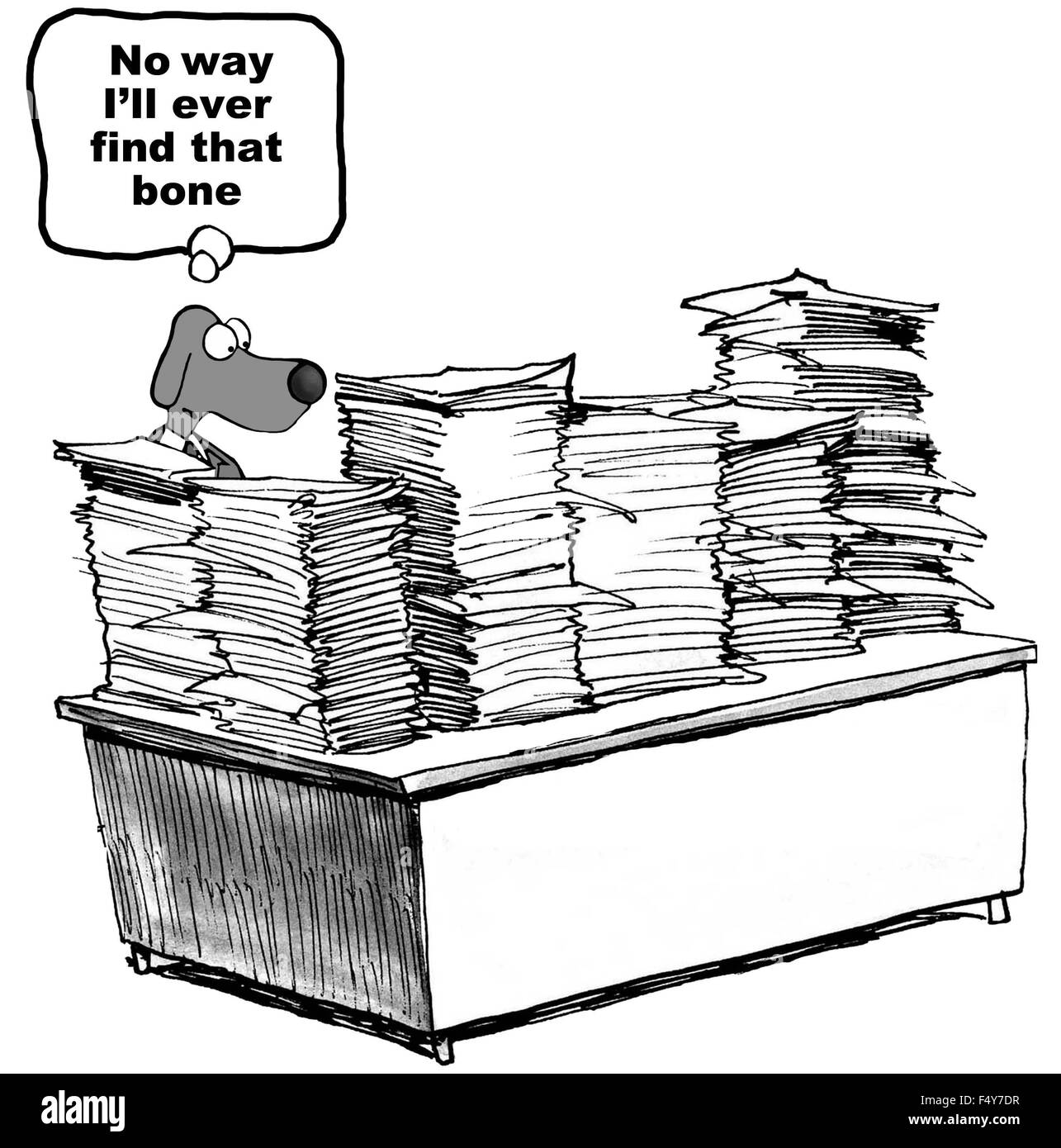 Outstanding Business Cartoon Showing Dog At Desk Stacked High With Download Free Architecture Designs Scobabritishbridgeorg