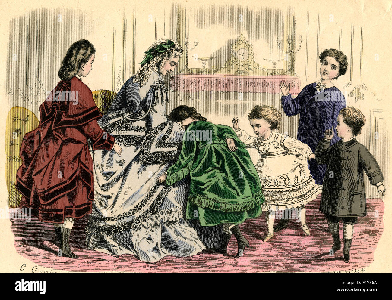 Fashion illustration: French woman at the end of 1800 - Stock Image