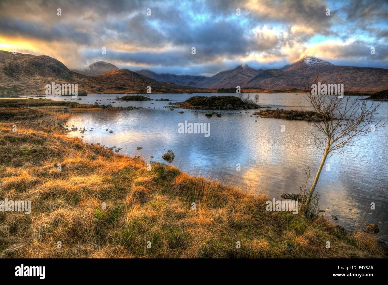 Autumn sunset over Rannoch Moor,Scottish Highlands - Stock Image