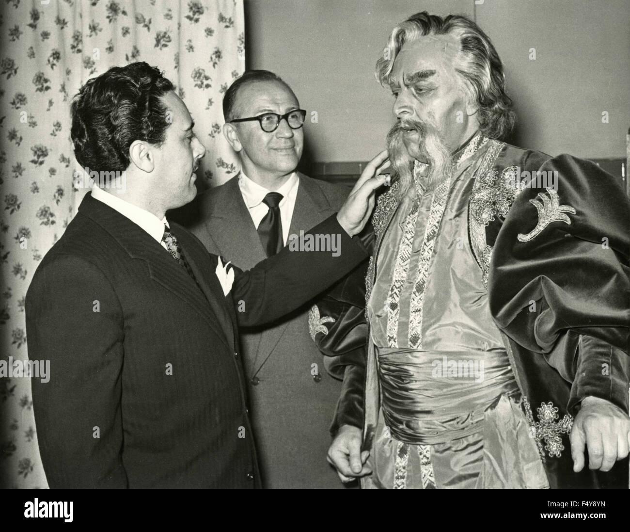 The choreographer Boris Kniaseff, including the tenor Mario del Monaco and low Boris Christoff, who starred in 'Mazeppa' - Stock Image