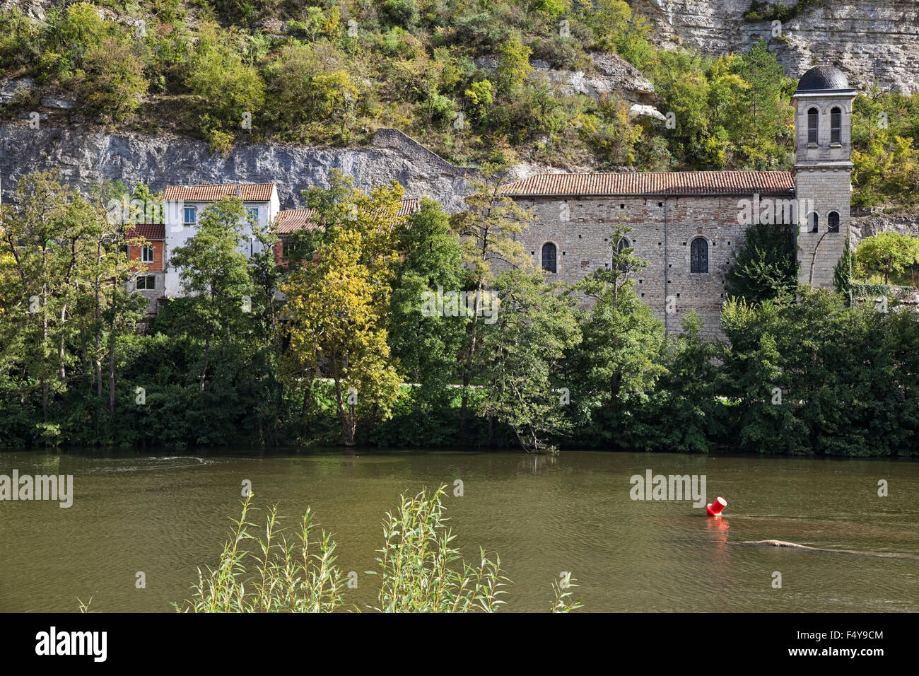 Church by River Lot in Cahors Stock Photo