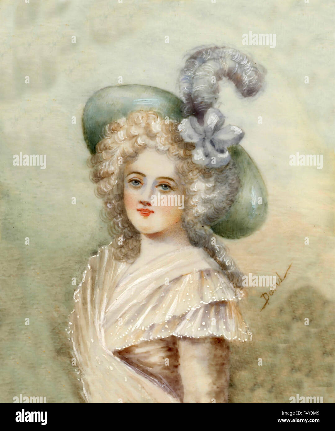 Hats and dresses of the French fashion of 1700 - Stock Image
