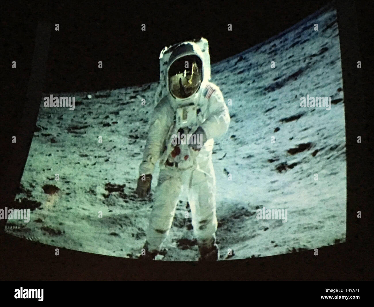 Garden City, New York, USA. 23rd Oct, 2015. Photo of astronaut Edwin BUZZ ALDRIN, in spacesuit walking on lunar - Stock Image