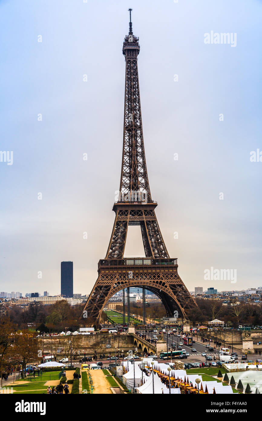 PARIS - NOVEMBER 15: Eiffel tower from Trocadero on November 15, 2012 in Paris. The tallest structure in Paris and - Stock Image