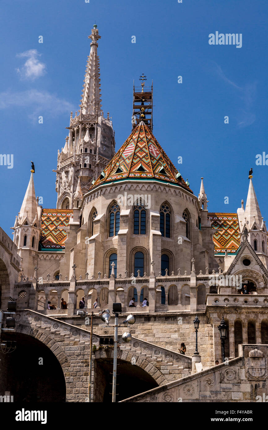 BUDAPEST, HUNGARY - JULY 24: Image with Fishermen Bastion taken on July 24, 2013, in Budapest, Hungary. Conical - Stock Image