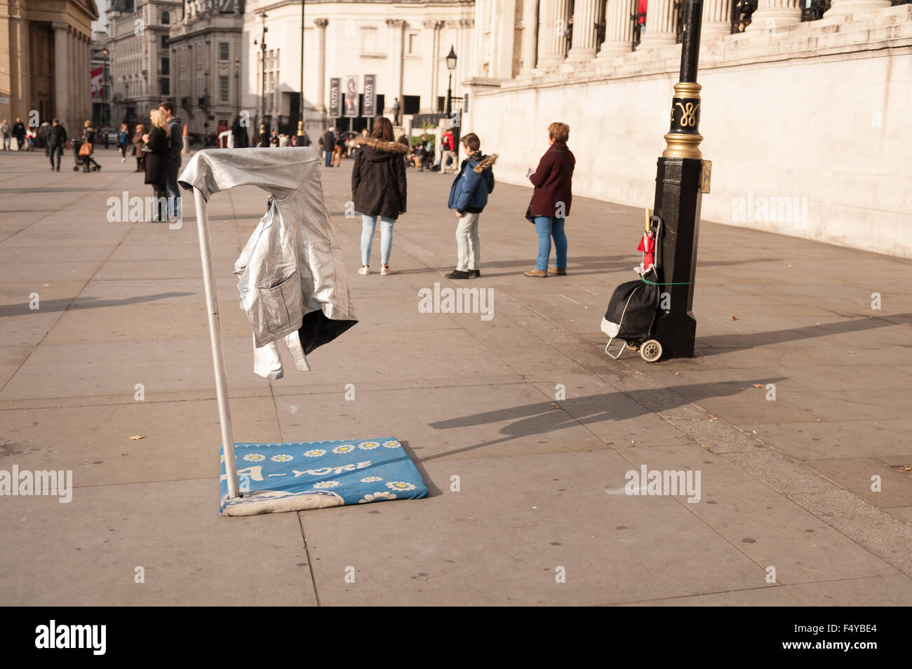 Yoda Wars break out as Romanian street performers dressed Star Wars character battle each other for the most lucrative - Stock Image