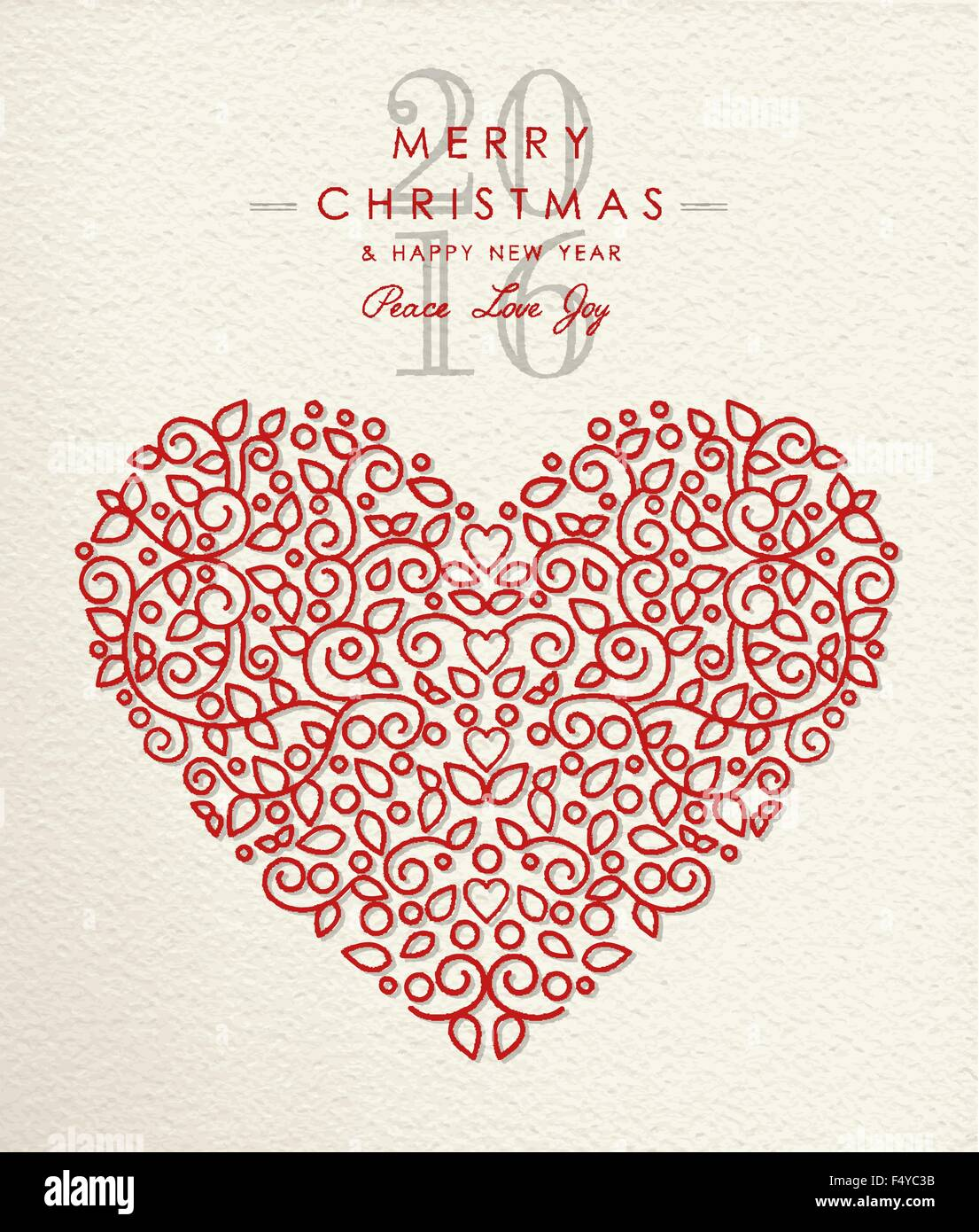 Merry Christmas Happy New Year 2016 Heart Shape In Ornament Outline