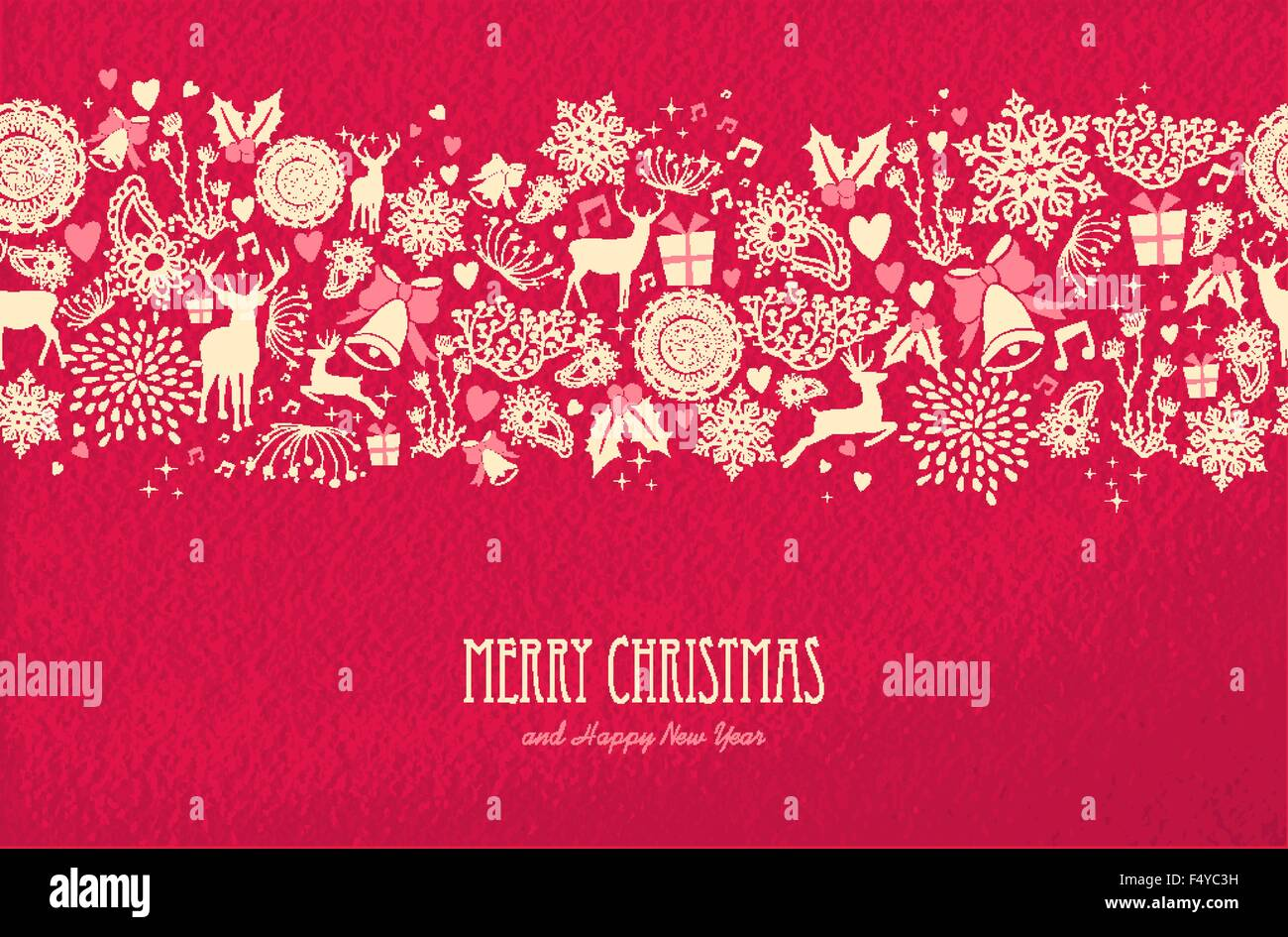 merry christmas happy new year seamless pattern design on red texture background with deer nature and holiday elements