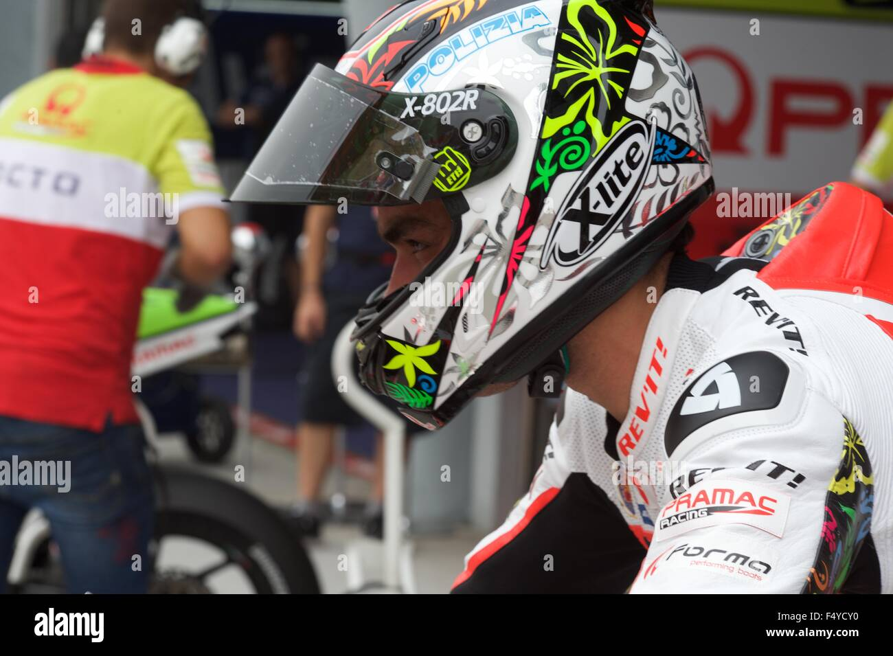 Sepang Circuit, Malaysia. 24th  Oct, 2015. Danilo Petrucci prepares to take to the track during qualifying for the - Stock Image