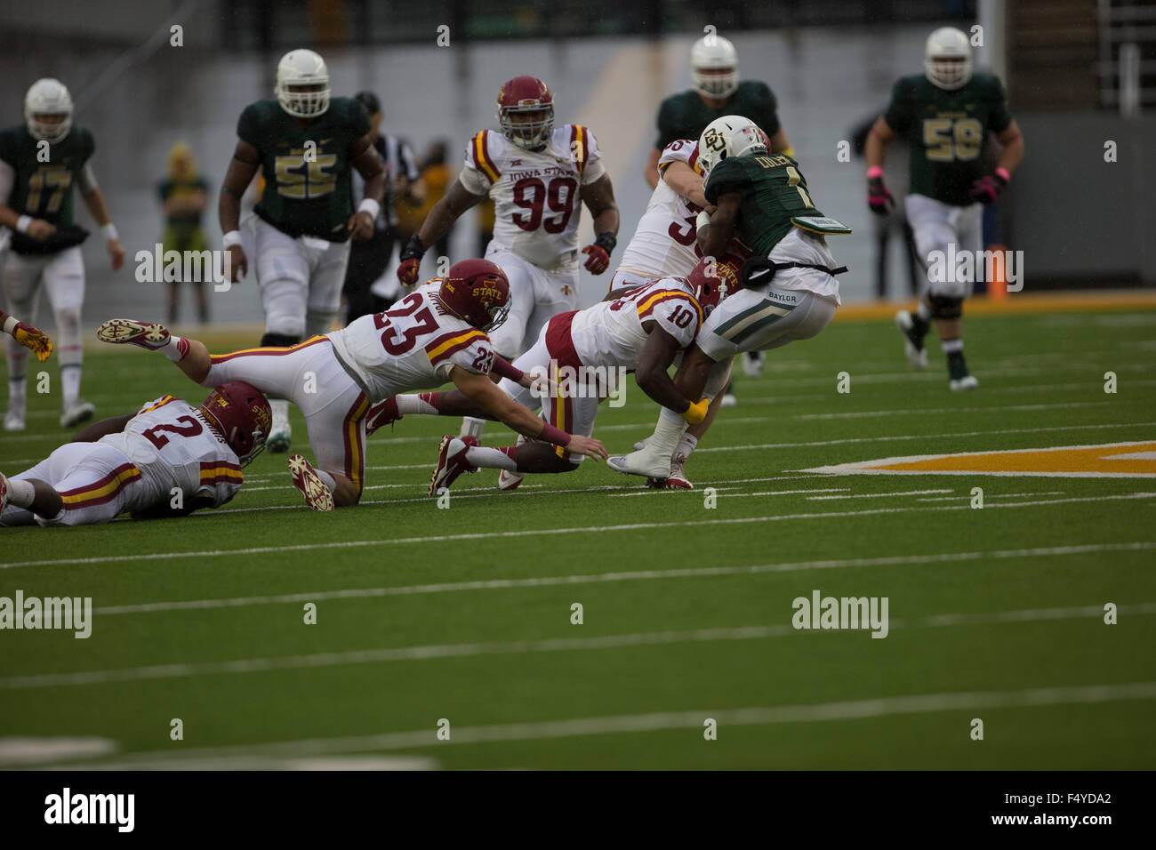 October 24, 2015: wide receiver Corey Coleman (1) of the Baylor Bears tackled by defensive back Brian Peavy (10) Stock Photo