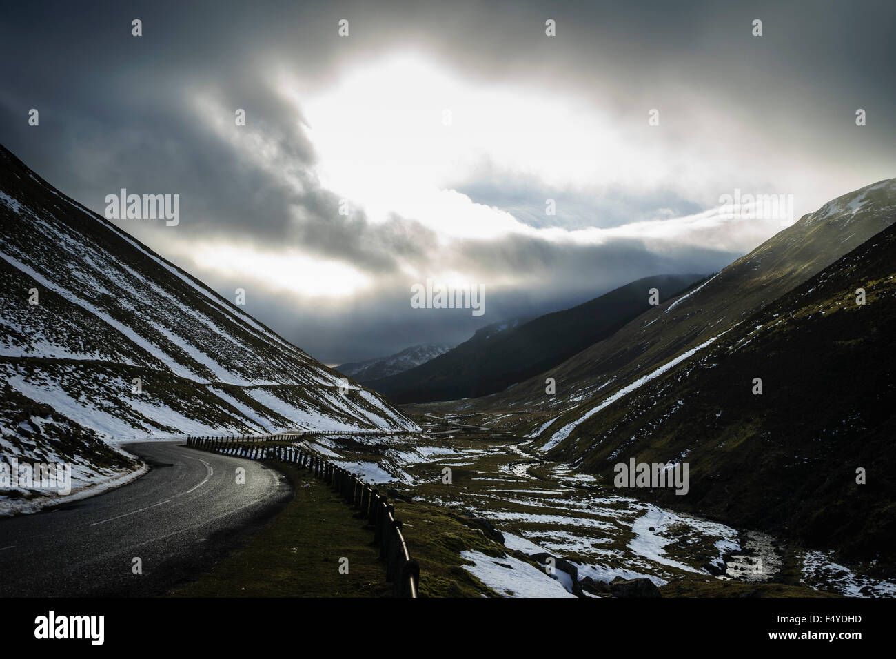 The A708 Selkirk to Moffat road in winter - Stock Image