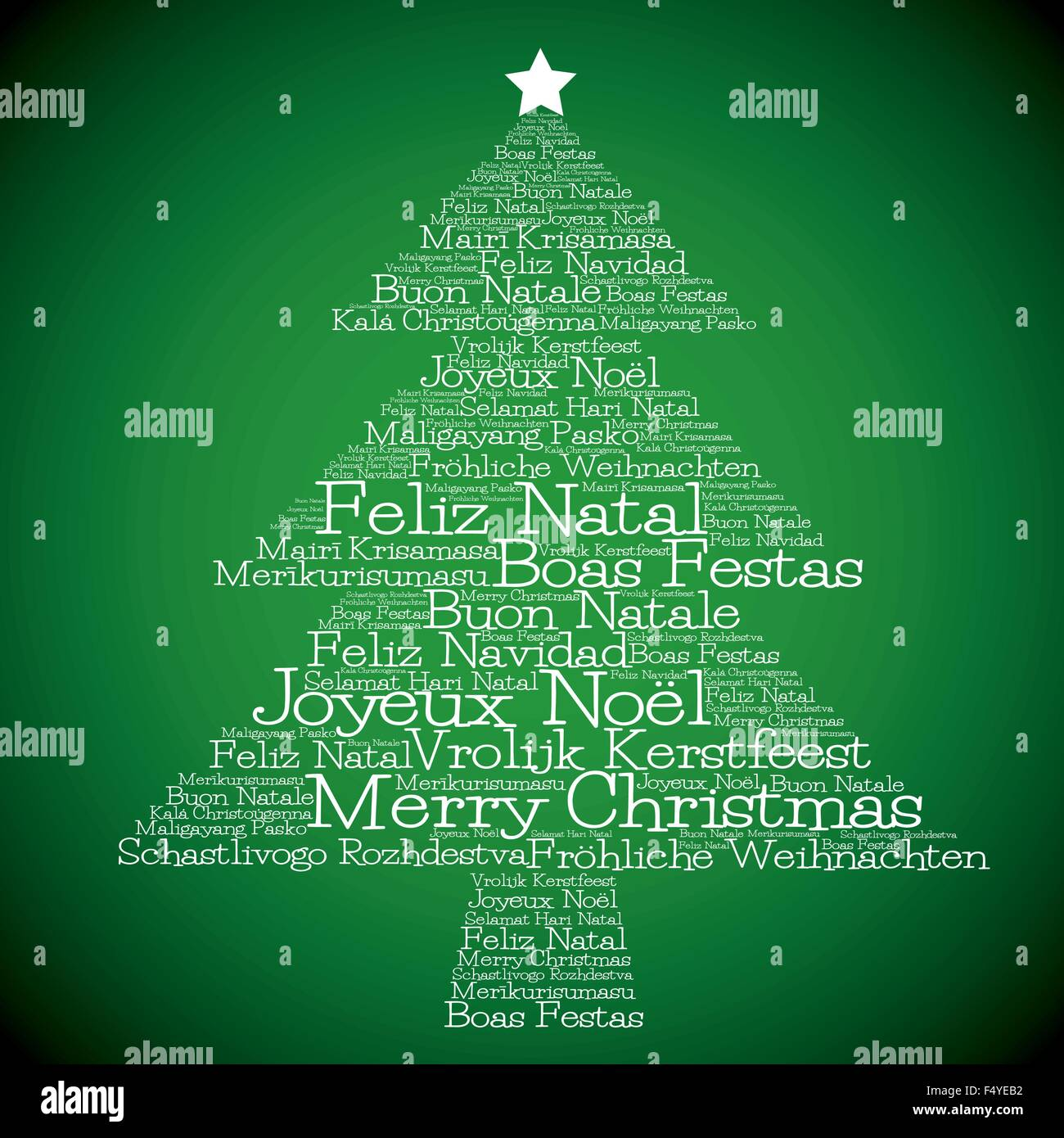 christmas tree made from  u0026quot merry christmas u0026quot  in different
