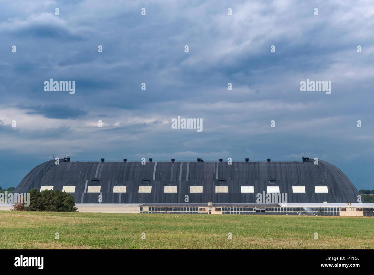 Akron Ohio Blimp Hangar originally Goodyear Zeppelin Airdock, now owned by Lockheed Martin. - Stock Image