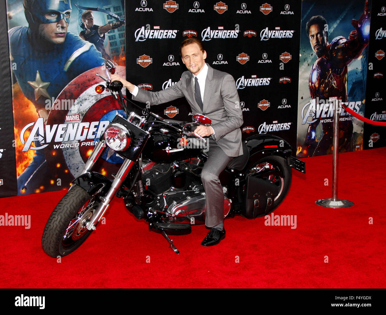 """Tom Hiddleston at the Los Angeles Premiere of """"Marvel's The Avengers"""" held at the El Capitan Theater, California, Stock Photo"""