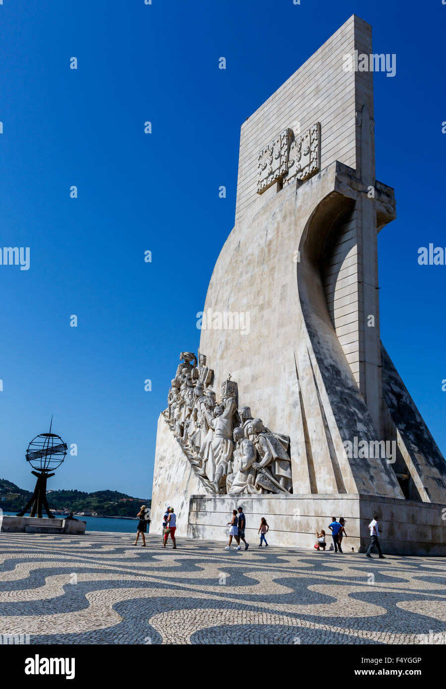 Monument to the Discoveries (Padro dos Descobrimentos) against a clear blue sky Lisbon Portugal - Stock Image
