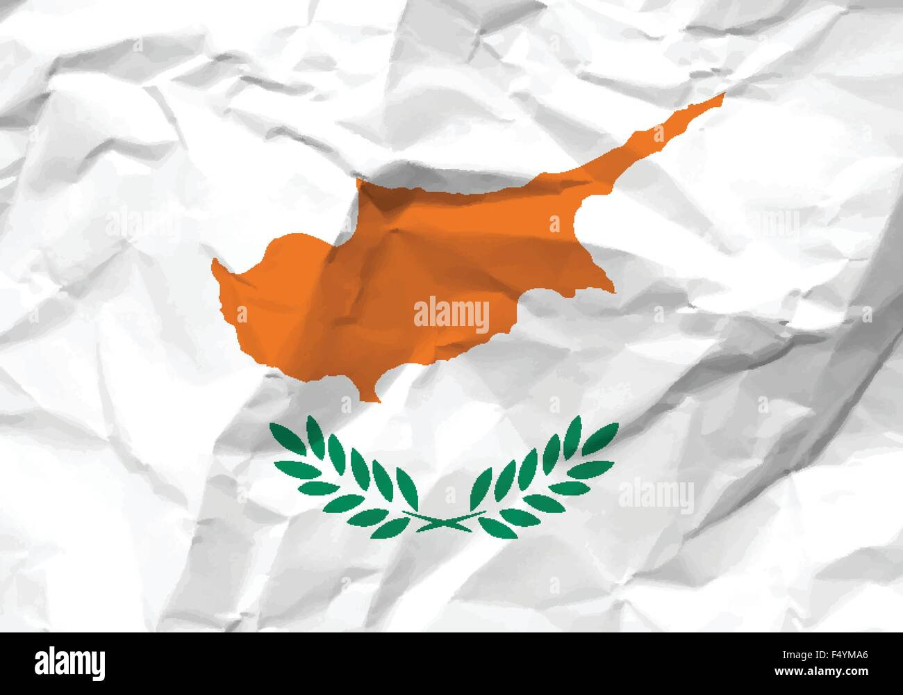 Crumpled paper Cyprus flag textured background. Vector illustration. - Stock Image