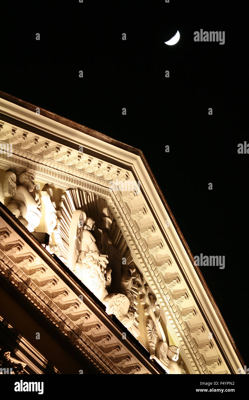 Moon over the tympanum - Stock Image
