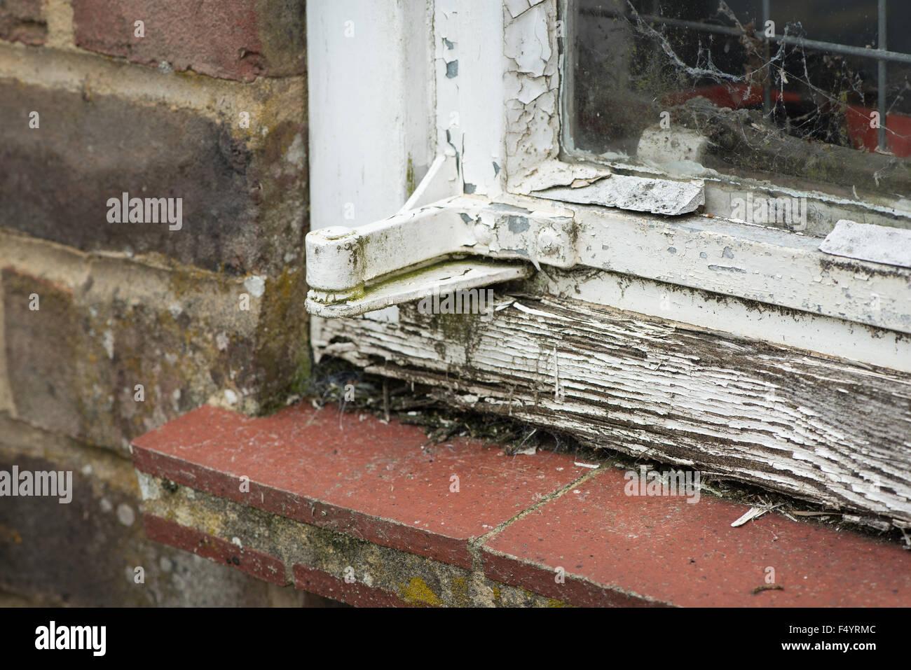 Old single glazed galvanised steel window frame in need of repair ...