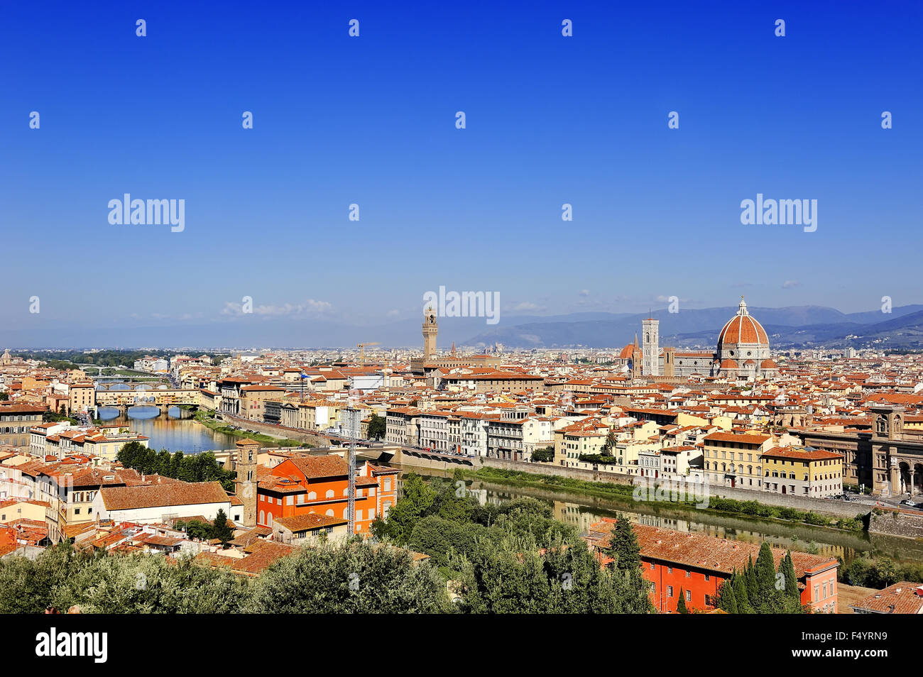 Florence panoramic view from Piazzale Michelangelo, Tuscany, Italy - Stock Image