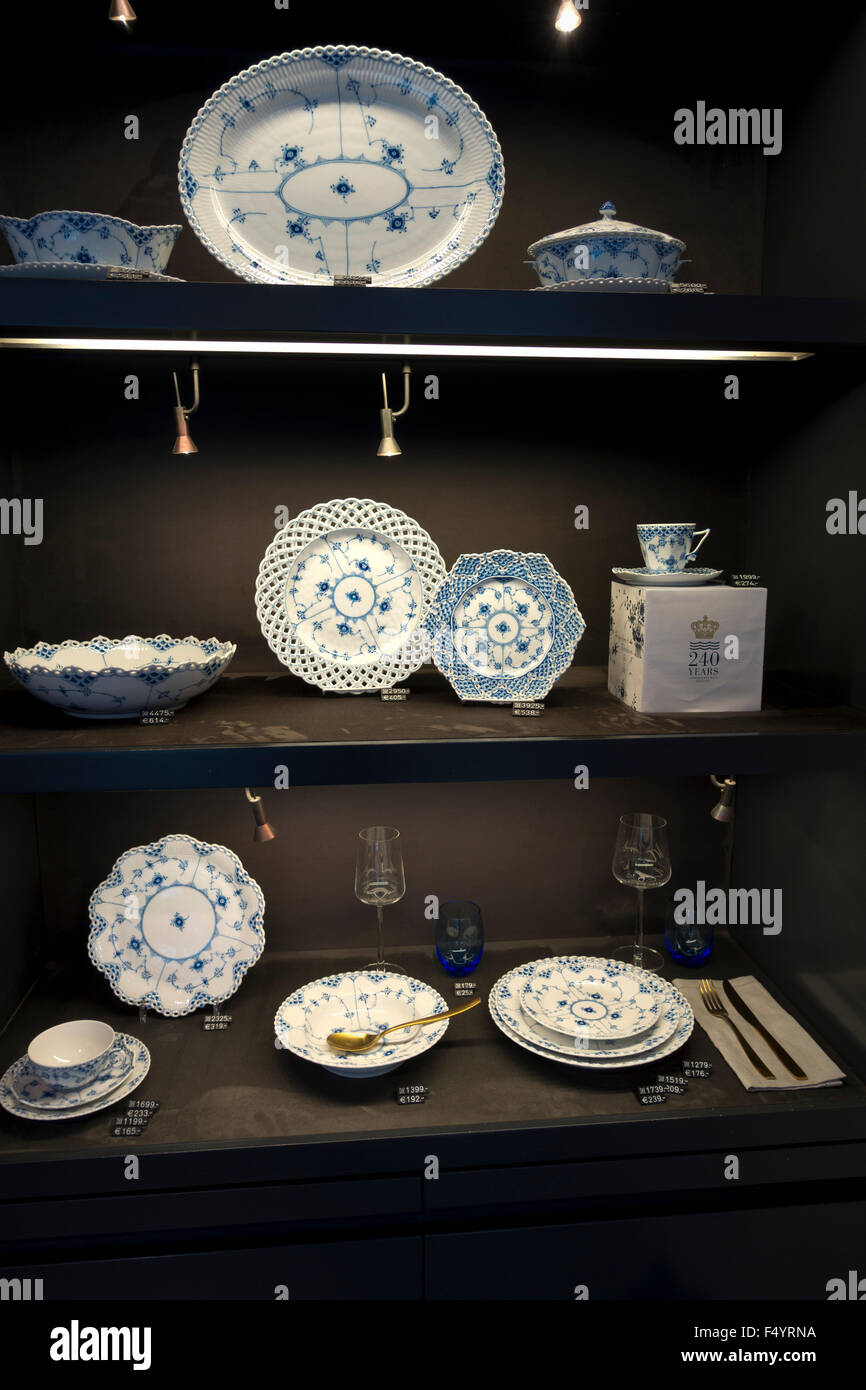 Display of china in the Royal Copenhagen porcelain shop on the main shopping and pedestrian street Strøget, - Stock Image
