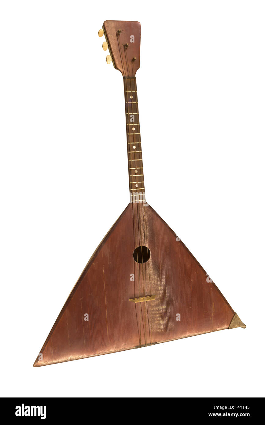 Bass Balalaika. String plucked musical instrument, 1910. Is isolated on the white - Stock Image