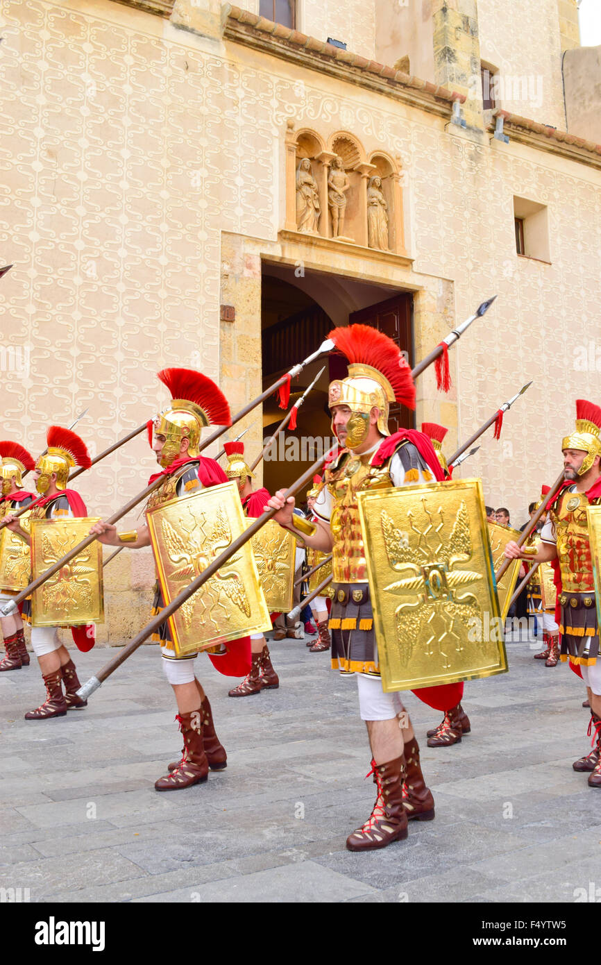 Romans soldiers at Easter procession. Holy week at  Tarragona city. Tarragona province, Catalonia, Spain. - Stock Image