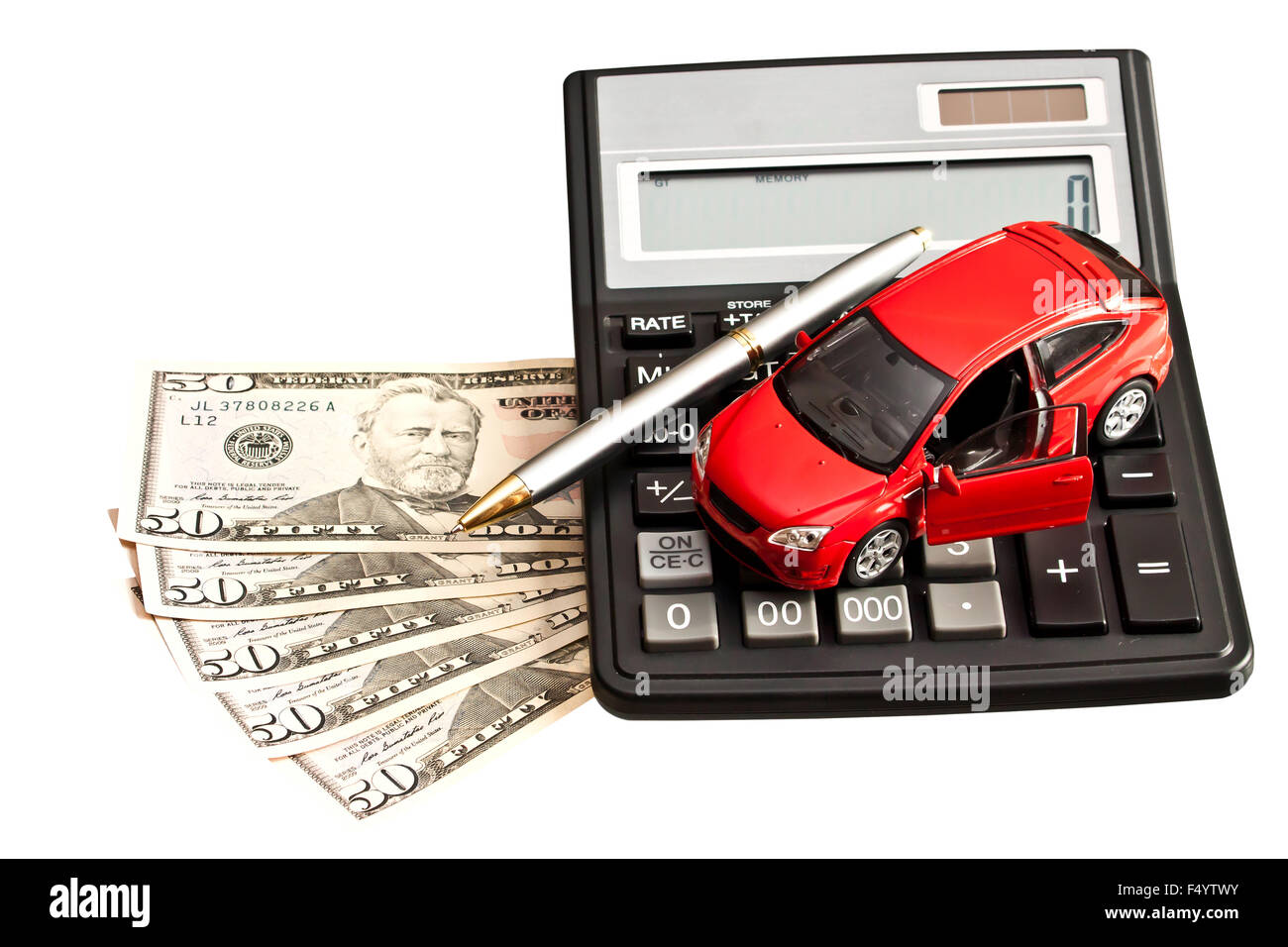 Toy car, money and calculator over white. Concept for buying, renting, insurance, fuel, service and repair costs - Stock Image