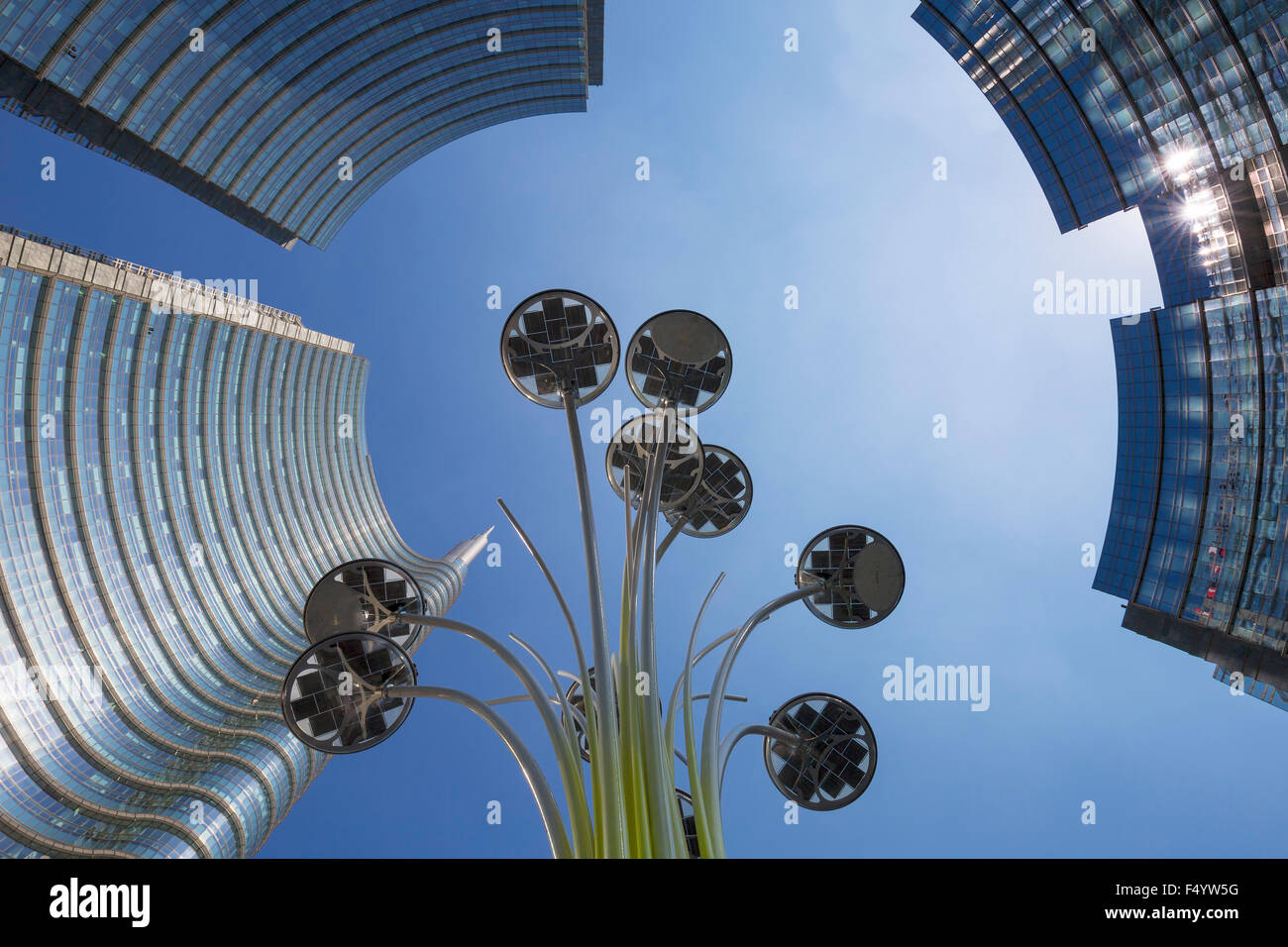 buildings and floor lamp in Milan, Italy - Stock Image