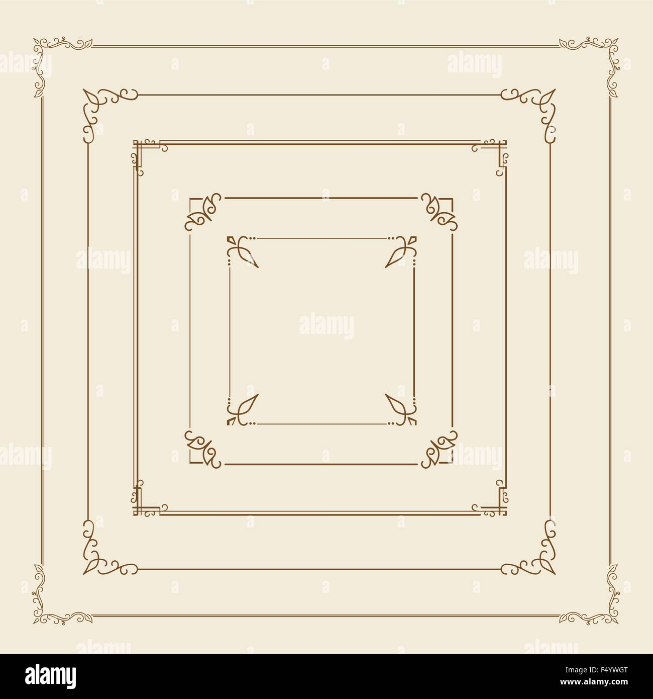 Brown retro borders - Stock Image