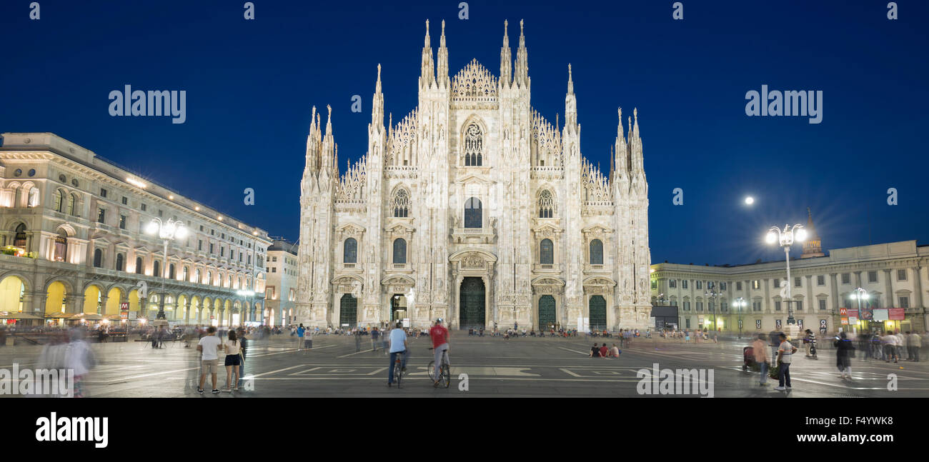 Panoramic view of Duomo by night, Milan, Europe. - Stock Image