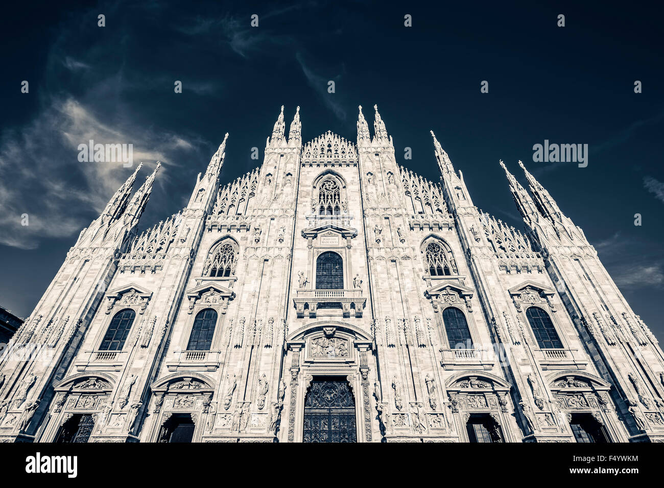 Milan Cathedral, Piazza del Duomo. Special photographic processing - Stock Image