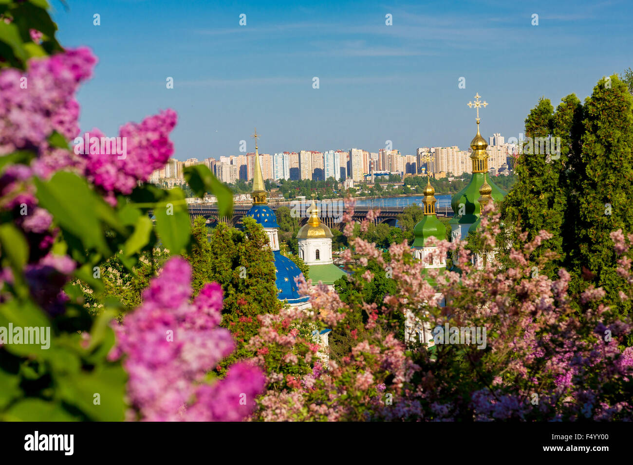 Panorama of the city of Kiev. Ukraine. View of the monastery Vydubitsky, left bank of the Dnieper River and the - Stock Image