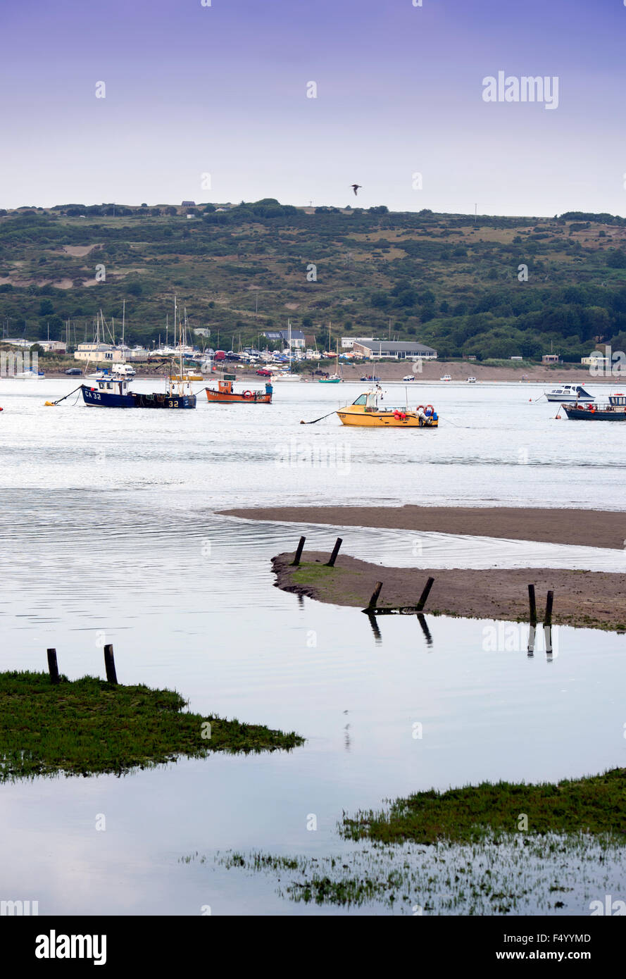 Fishing boats moored on the River Teifi estuary near St Dogmaels, Pembrokeshire, Wales UK Stock Photo